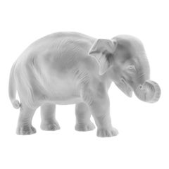 Young Elephant 1 Animal Figure in White Biscuit Porcelain by Nymphenburg