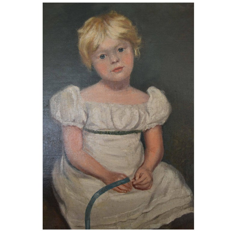 Charming work in the Regency style, mid-19th century after Sir Thomas Lawrence. High quality painting. Old 19th century Christie's Stencil to verso. This is not our normal style of painting but it is very alluring and sits well in contemporary