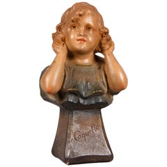 Young Girl Bust Plaster Sculpture Signed C.F. Paris, France, 1920s