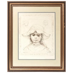 Young Girl in Hat Limited Edition Signed Numbered Lithograph by Edna Hibel