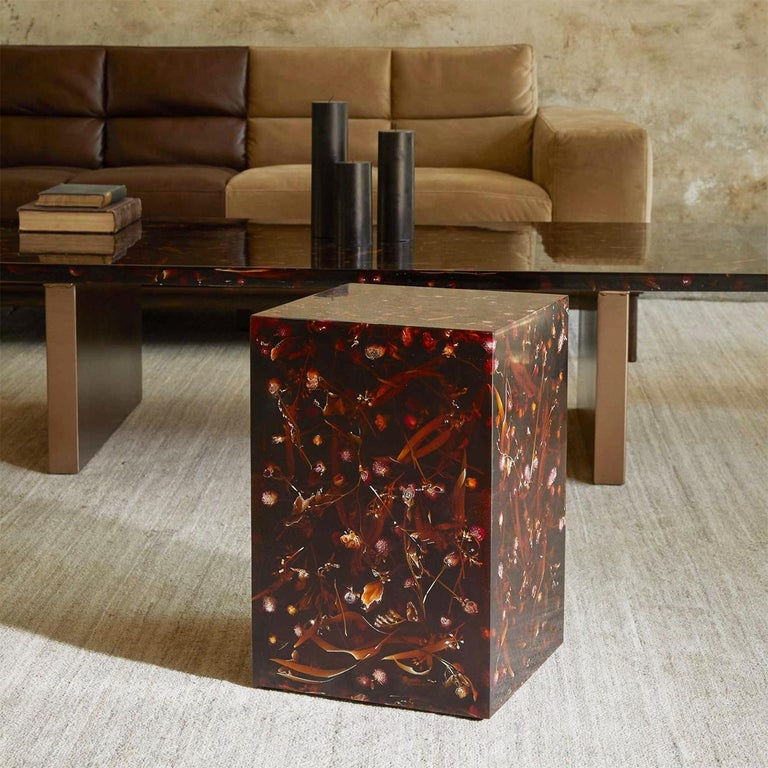 Contemporary Young Inches Side Table in Resin For Sale