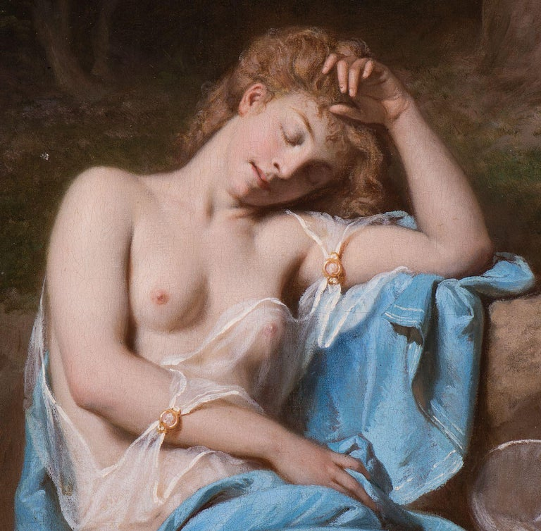 Victorian Young Lady Resting in a Wooded Glade For Sale