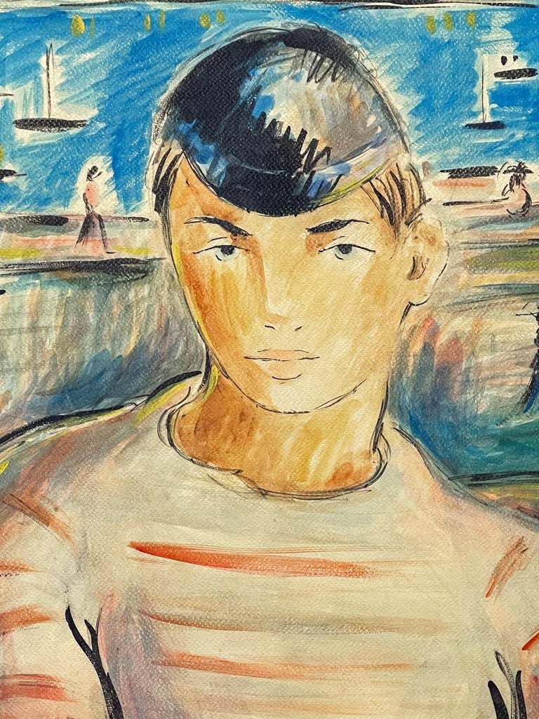 Painted by Cuba's most important figural painter in the mid-20th century, this portrait by Victor Manuel depicts a young man with a bicycle cap and a white and red striped shirt, looking at the the viewer with steady blue eyes. Behind him is a
