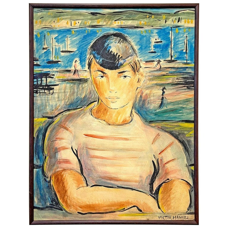"""""""Young Man in Striped Shirt,"""" Portrait with Harbor Scene by Cuban Artist For Sale"""