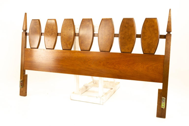 Mid-Century Modern Young Manufacturing Midcentury Burl Wood and Walnut King Headboard For Sale