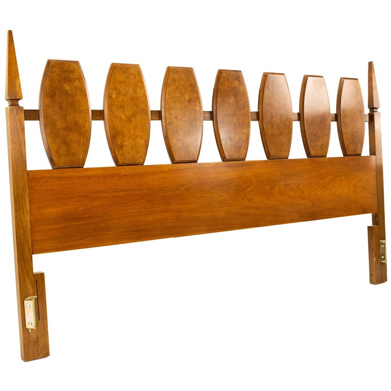 Young Manufacturing Midcentury Burl Wood and Walnut King Headboard For Sale