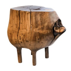 Young Walnut Hand-Carved Stool by Ian Love