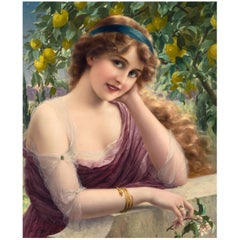 Young Woman by a Lemon Tree by Emile Vernon