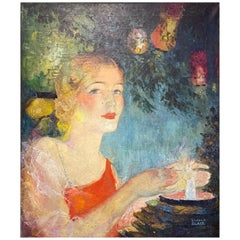 'Young Woman with Japanese Lanterns,' Gorgeous and Charming Art Deco Painting