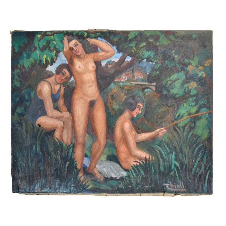 Young Women in Bathing Oil on Canvas 1930 Signed Thioll