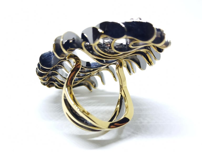 Your Obituary to Ordinary with Contemporary Colored Diamond Gold Cocktail Ring For Sale 1