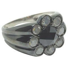 Rare will Rejoice with One of a Kind Milky Grey & Black Diamond Black Gold Ring