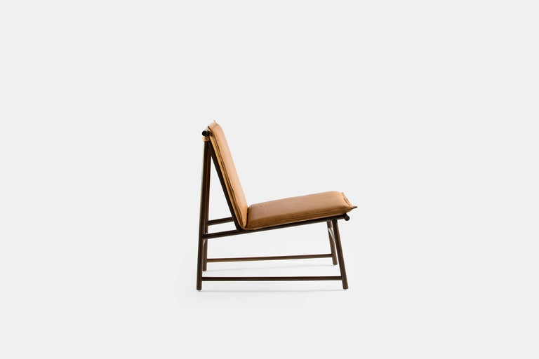 Minimalist Easy Chair, Lounge Chair in Walnut Wood with Natural Leather Seat For Sale