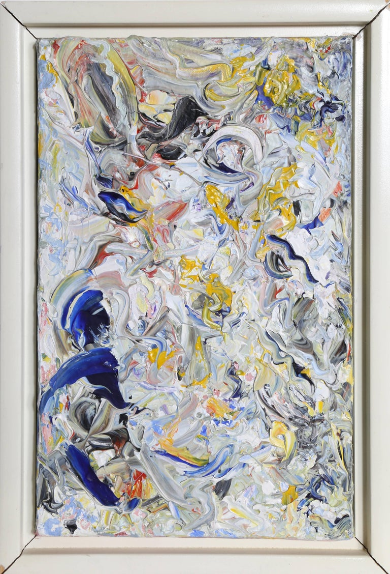 """Youri Yehuda Broitman Abstract Painting - """"Portrait of Robert"""", Abstract White Oil Painting by Youri Broitman"""
