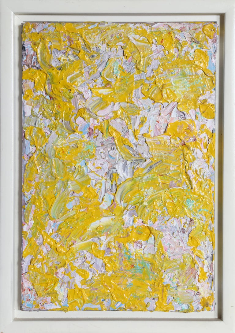 """Youri Yehuda Broitman Abstract Painting - """"The Impressions of Gail"""", Abstract Yellow Oil Painting by Youri Broitman"""