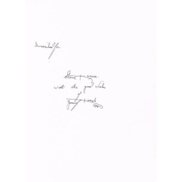 Paper Yousuf Karsh Autograph on a Copy of the Book 'Karsh a Fifty-Year Retrospective' For Sale