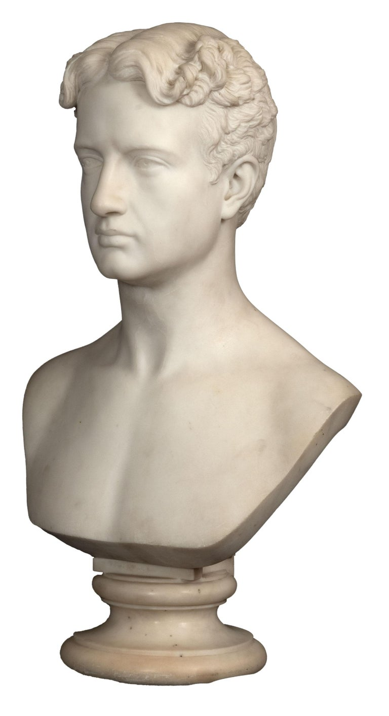 Franklin Simmons (American, 1839-1913) Youth (circa 1868) Carrera marble. Among the most celebrated American sculptors of the nineteenth century, Franklin Simmons was the nation's most admired and prolific sculptor during the Civil War. His