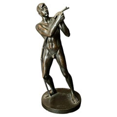 """""""Youth Stringing Bow,"""" Rare, Beautifully Detailed Male Nude Bronze by Lessing"""