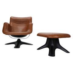 "Yrjö Kukkapuro ""Karuselli"" Leather Lounge Chair & Ottoman for Haimi Finland 1960"