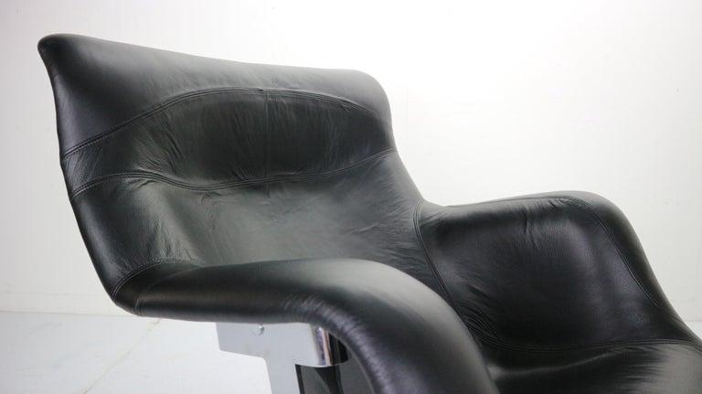 Yrjö Kukkapuro 'Karuselli' Lounge Chair in Black Leather for Haimi, 1960s For Sale 10