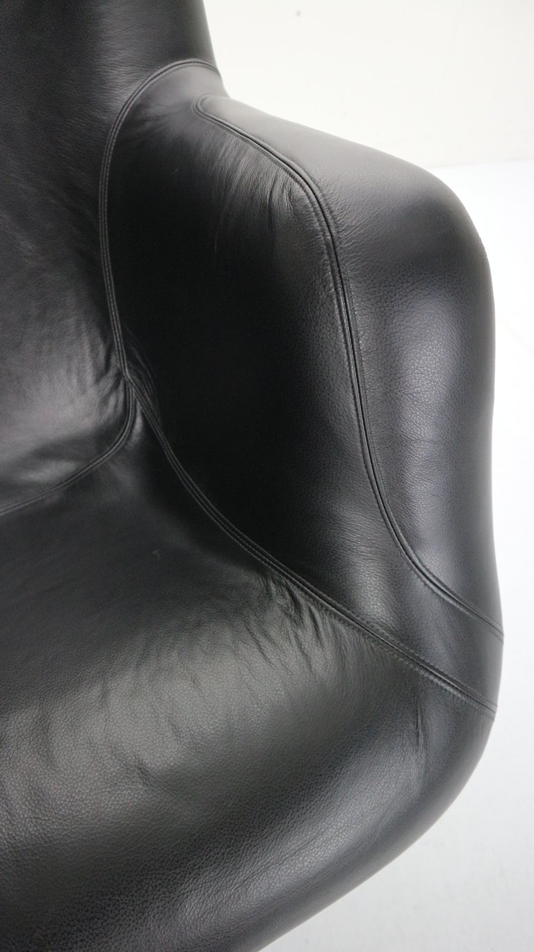 Yrjö Kukkapuro 'Karuselli' Lounge Chair in Black Leather for Haimi, 1960s For Sale 12