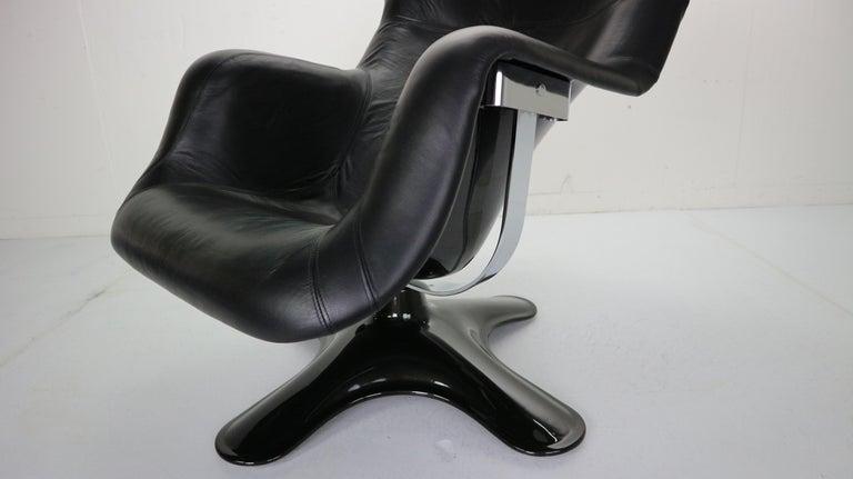 Yrjö Kukkapuro 'Karuselli' Lounge Chair in Black Leather for Haimi, 1960s For Sale 13