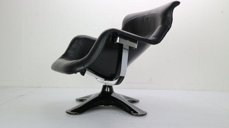 Yrjö Kukkapuro 'Karuselli' Lounge Chair in Black Leather for Haimi, 1960s For Sale 1