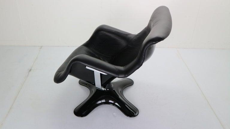 Yrjö Kukkapuro 'Karuselli' Lounge Chair in Black Leather for Haimi, 1960s For Sale 2