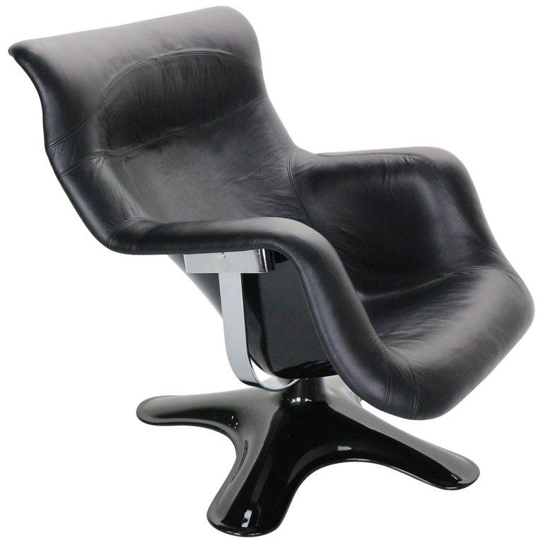 Yrjö Kukkapuro 'Karuselli' Lounge Chair in Black Leather for Haimi, 1960s For Sale