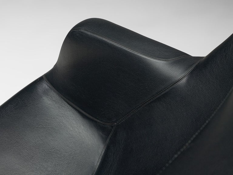 Yrjö Kukkapuro 'Karuselli' Lounge Chair in Black Leather For Sale 5
