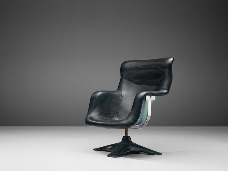 Mid-Century Modern Yrjö Kukkapuro 'Karuselli' Lounge Chair in Black Leather For Sale
