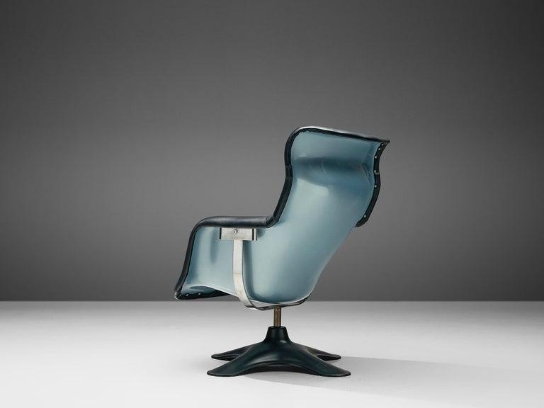 Finnish Yrjö Kukkapuro 'Karuselli' Lounge Chair in Black Leather For Sale