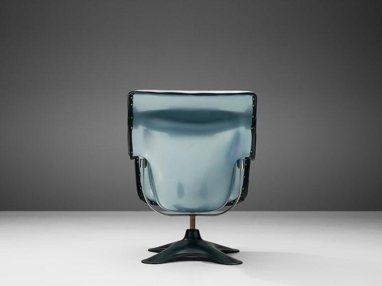 Yrjö Kukkapuro 'Karuselli' Lounge Chair in Black Leather In Good Condition For Sale In Waalwijk, NL