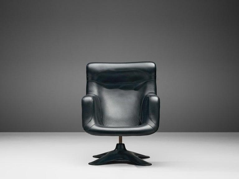 20th Century Yrjö Kukkapuro 'Karuselli' Lounge Chair in Black Leather For Sale