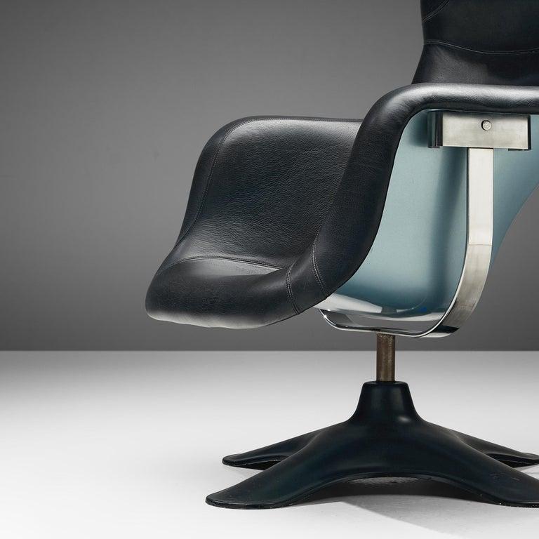 Yrjö Kukkapuro 'Karuselli' Lounge Chair in Black Leather For Sale 1