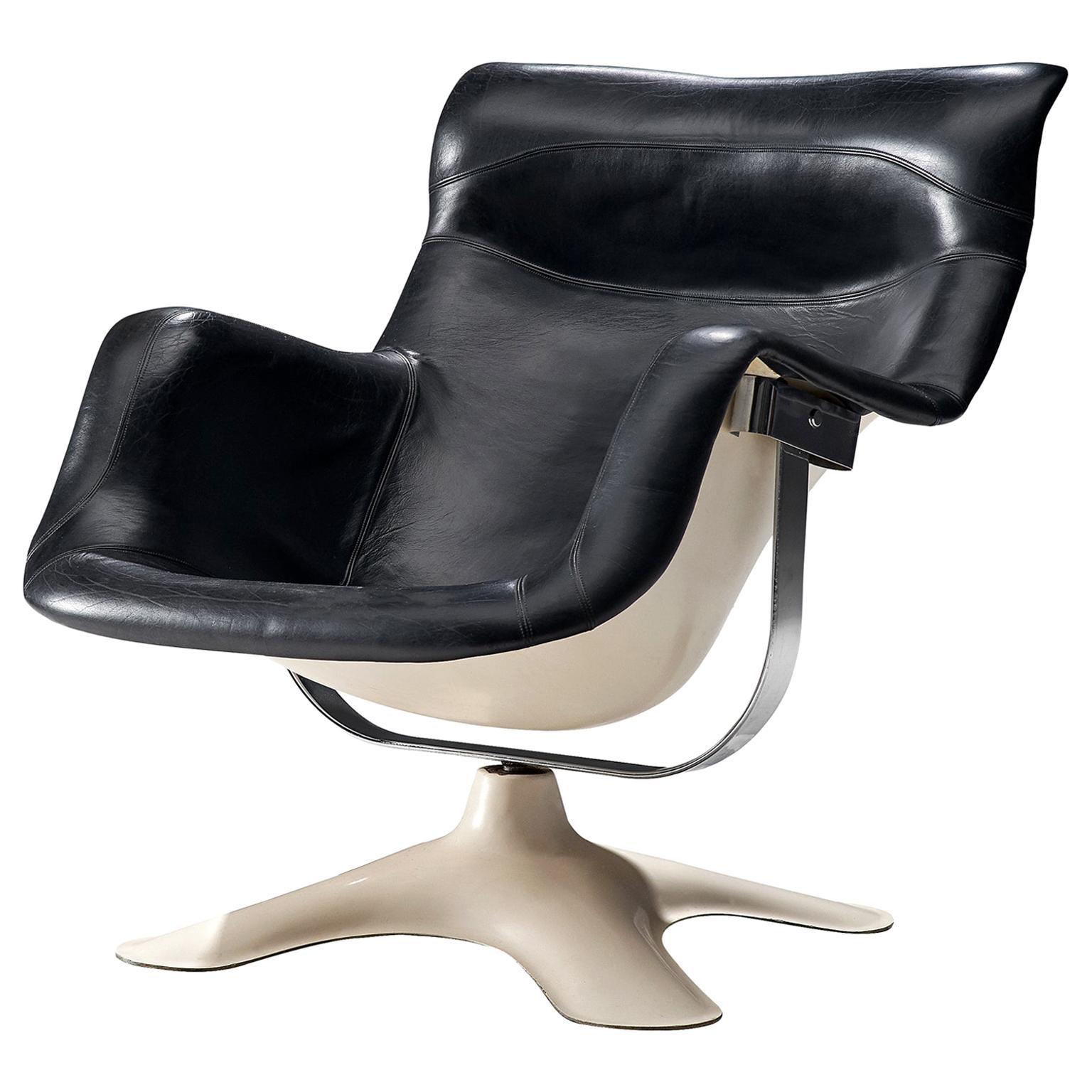 Yrjo Kukkapuro 'Karuselli' Lounge Chair in Black Leather Upholstery
