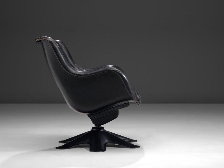 Finnish Yrjo Kukkapuro 'Karuselli' Lounge Chair in Black Patinated Leather For Sale