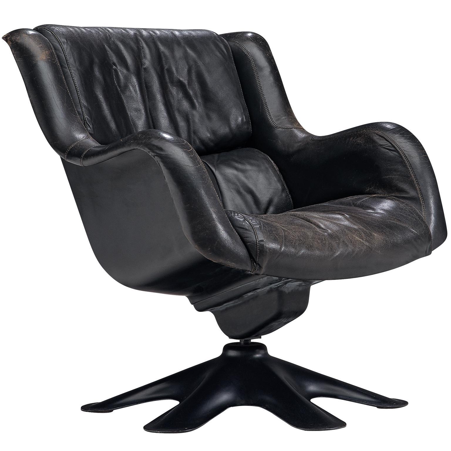 Yrjo Kukkapuro 'Karuselli' Lounge Chair in Black Patinated Leather