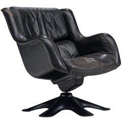 "Yrjo Kukkapuro ""Karuselli"" Lounge Chair in schwarz patiniert Leder"
