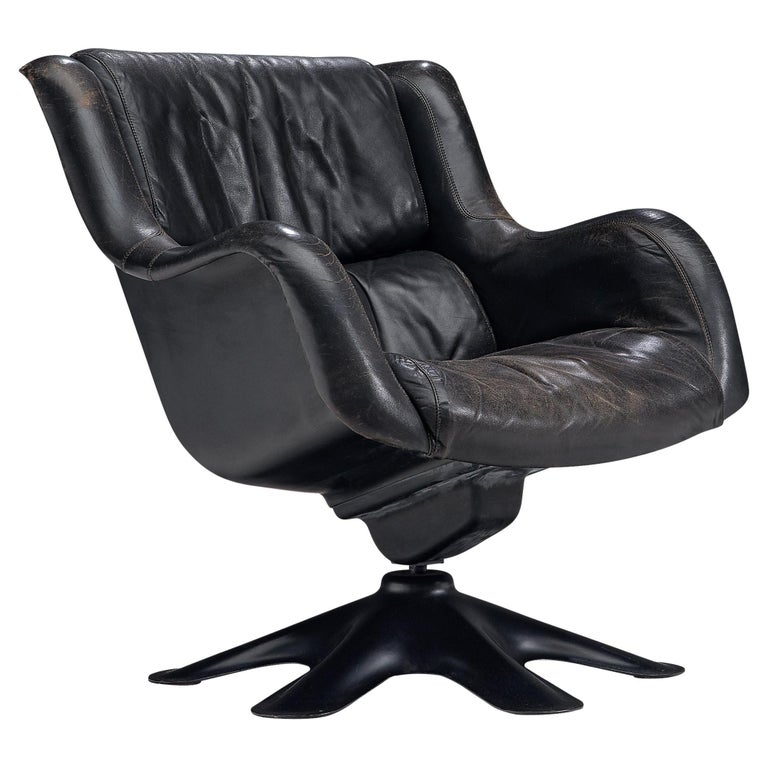 Yrjo Kukkapuro 'Karuselli' Lounge Chair in Black Patinated Leather For Sale