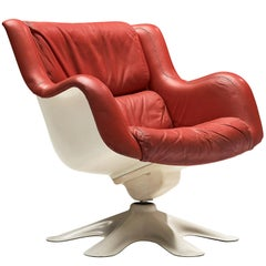 Yrjo Kukkapuro 'Karuselli' Lounge Chair in Red Leather