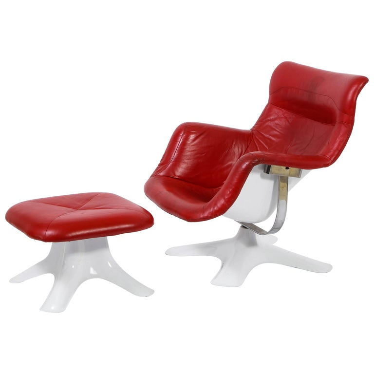 "Yrjo Kukkapuro ''Karuselli"" Lounge Chair & Ottoman in Red Leather, Finland 1960s For Sale"
