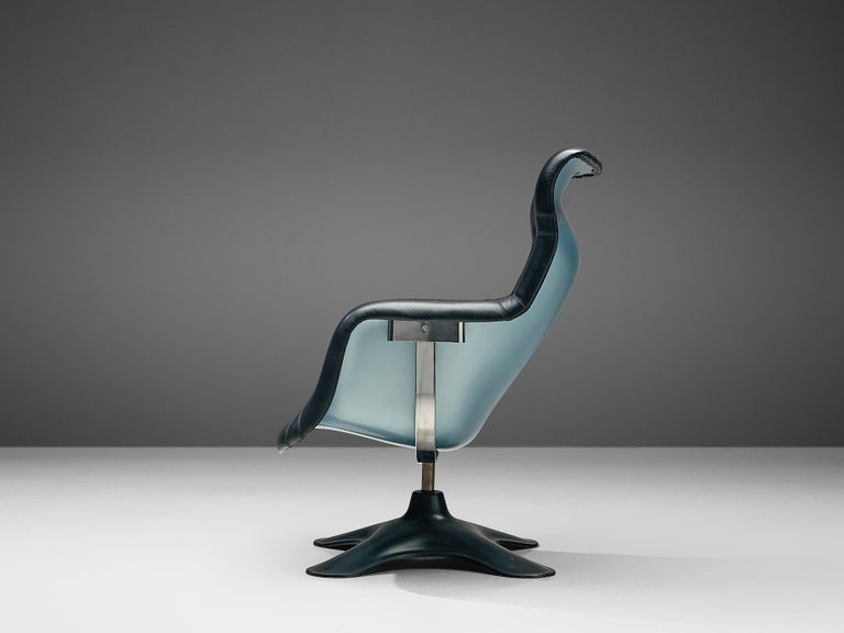 Yrjö Kukkapuro, lounge chair model 'Karuselli', black leather, metallic blue and black fiberglass, Finland, 1960s  Organic shaped lounge chair by Finnish designer Yrjö Kukkapuro. This chair consist of a moulded plastic shell with thick leather