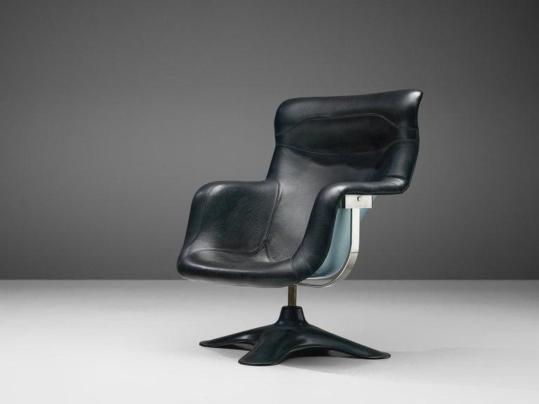 Finnish Yrjö Kukkapuro Lounge Chair Model 'Karuselli' Black Leather For Sale