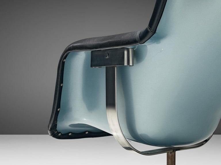 Yrjö Kukkapuro Lounge Chair Model 'Karuselli' Black Leather In Good Condition For Sale In Waalwijk, NL