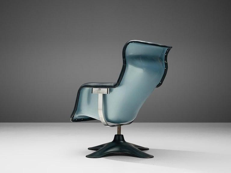 20th Century Yrjö Kukkapuro Lounge Chair Model 'Karuselli' Black Leather For Sale