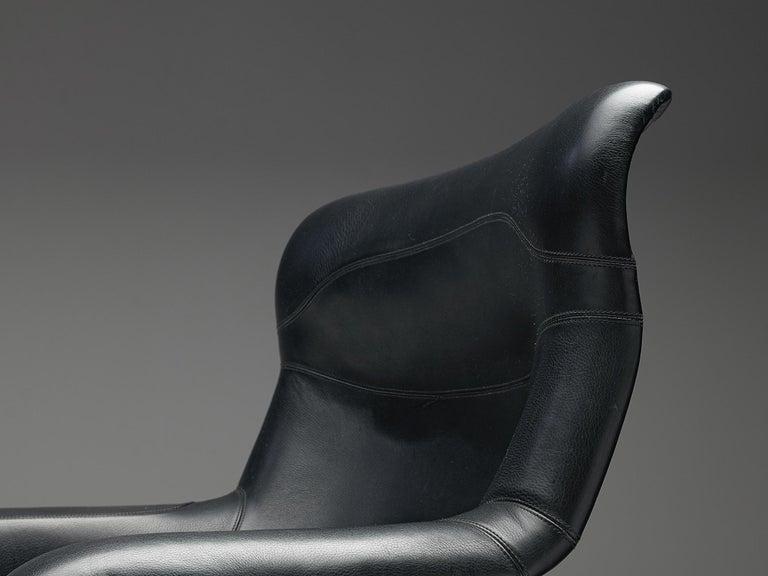 Yrjö Kukkapuro Lounge Chair Model 'Karuselli' Black Leather For Sale 1