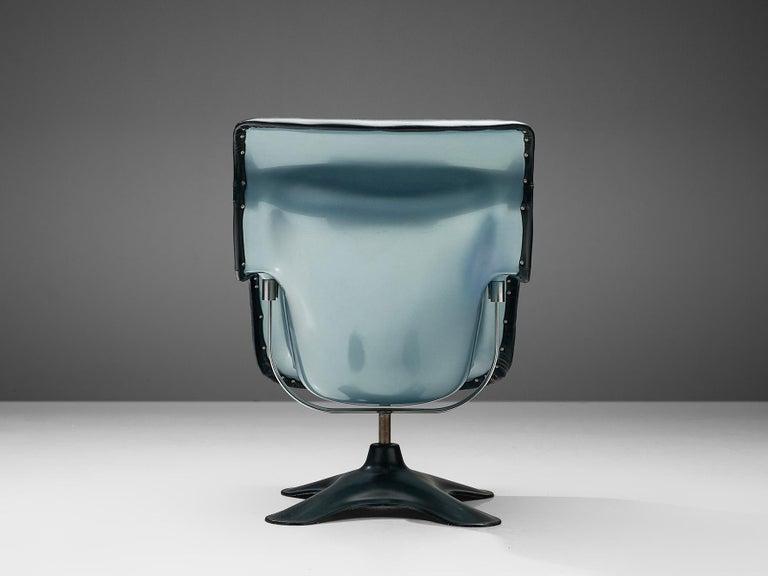 Yrjö Kukkapuro Lounge Chair Model 'Karuselli' Black Leather For Sale 2