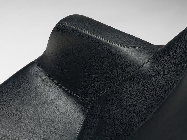 Yrjö Kukkapuro Lounge Chair Model 'Karuselli' Black Leather For Sale 3