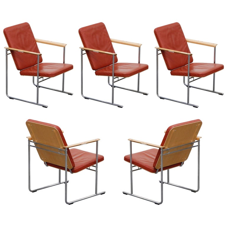 Yrjö Kukkapuro 'Skaala' Leather Lounge Chairs for Avarte, Finland, 1970s For Sale